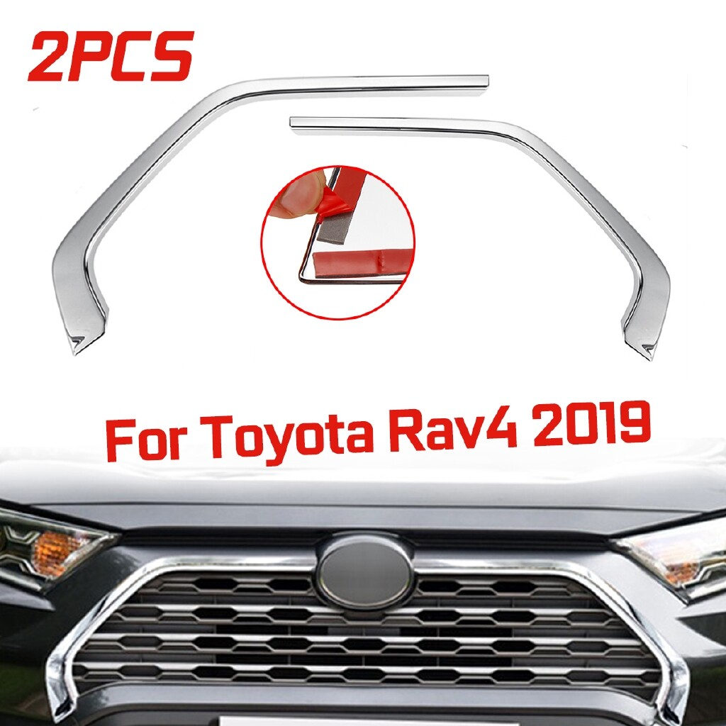 Engine Parts - 2 PIECE(s) Chrome Front Grill Grille Decorative Cover Trim Strips For Toyota Rav4 ouyou2010 - Car Replacement