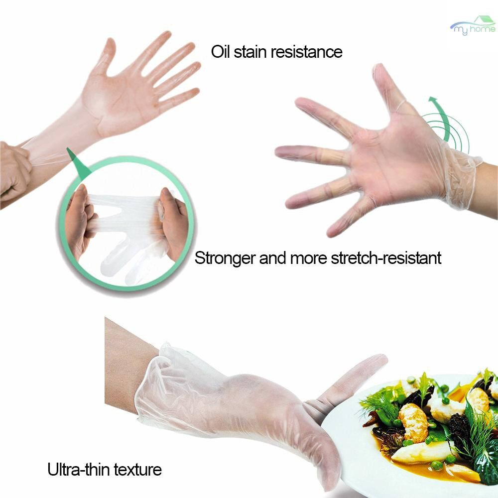 Protective Clothing & Equipment - 100 PIECE(s) Eco-Friendly Transparent Disposable Glove Hygiene Gloves For Kitchen Catering Baking - L / M / S
