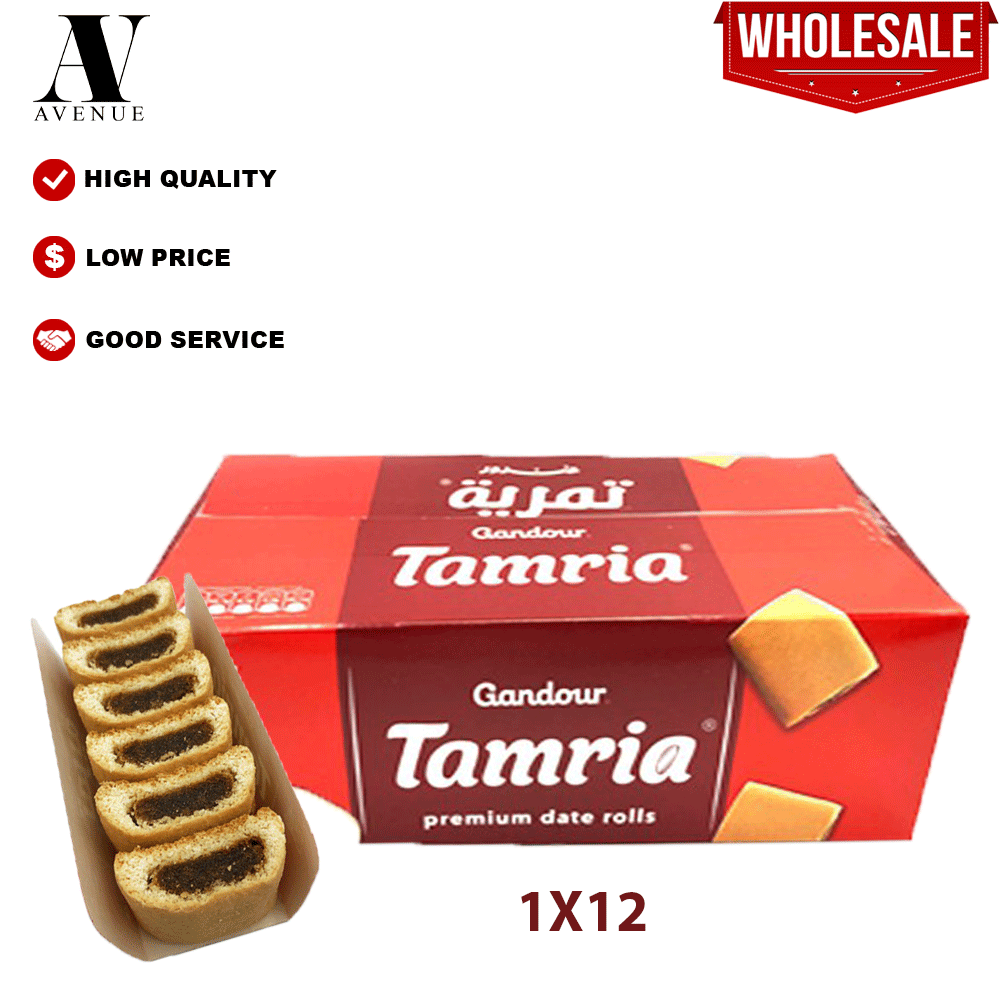 Ghandour Tamria Premium Dates Roll's 12 Packsx76.5g غندور تمرية بسكويت بالتمر الفاخر - kurma biscuits