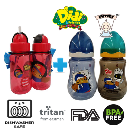 Didi And Friends 350ml Tritan bottle + 9Oz Twins Pack Milk Bottle