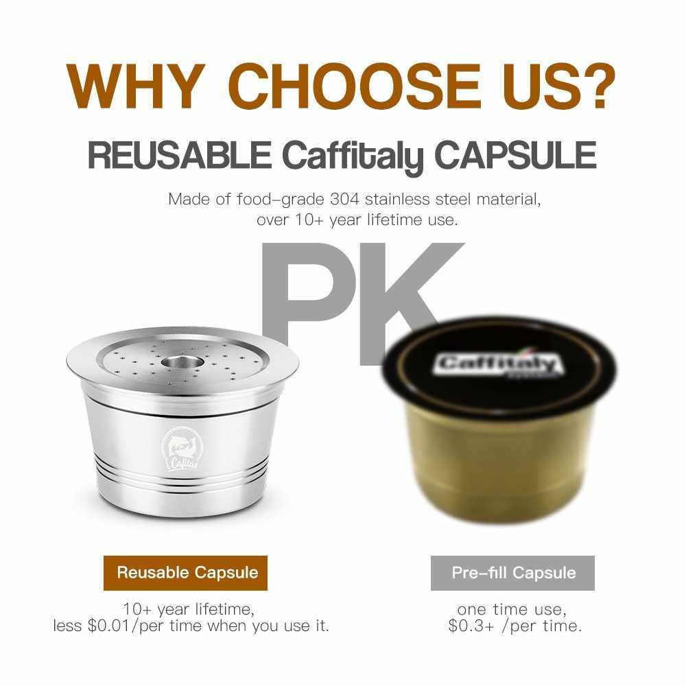 Coffee Capsules Refillable Pods Refillable Coffee Capsules Stainless Steel with Spoon Brush for Caffitaly Machines (Silver)