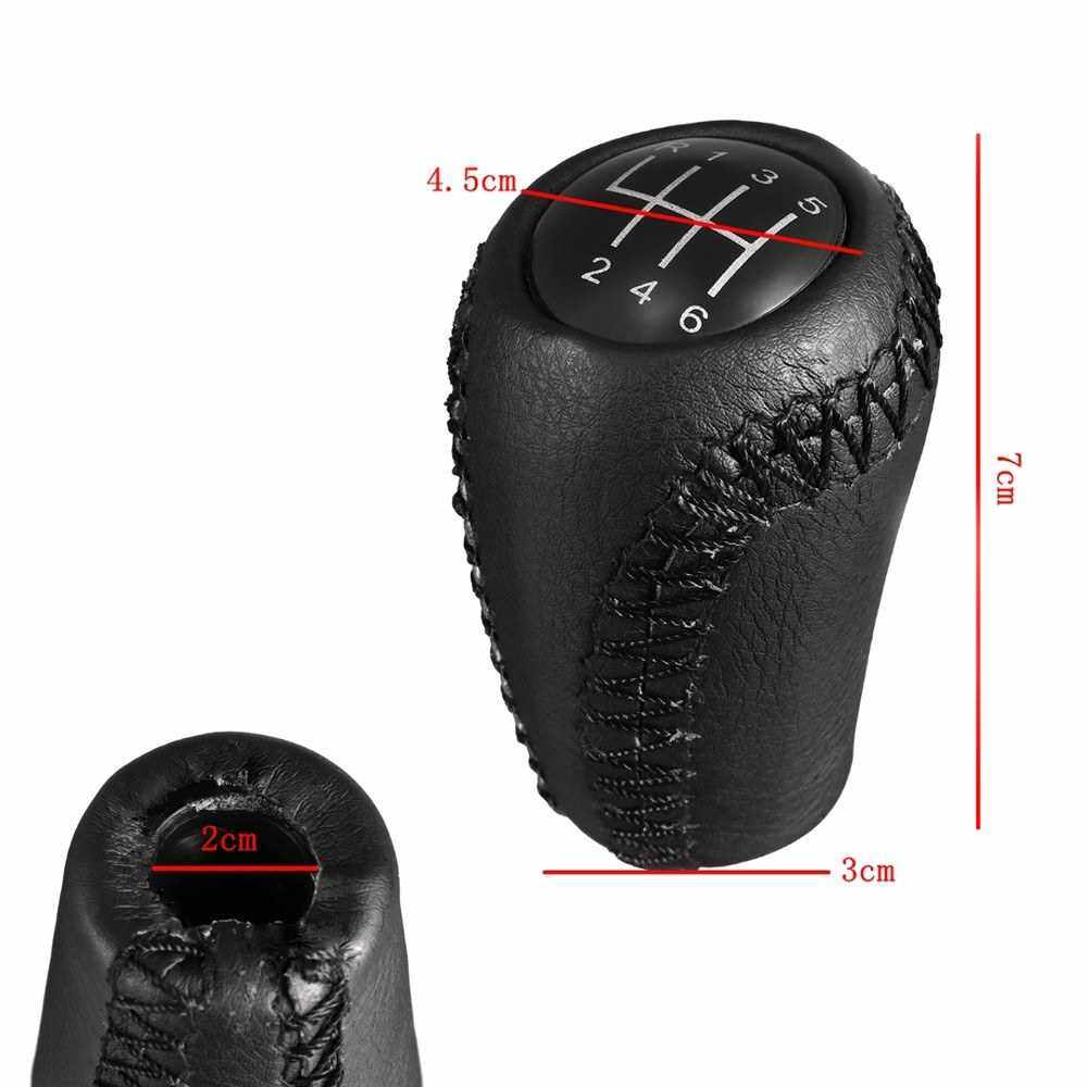 Best Selling Black Leather Gear Stick Shift Knob 6 Speed for Mazda 3 BK BL/ 5 CR CW/ 6 II GH (Black)