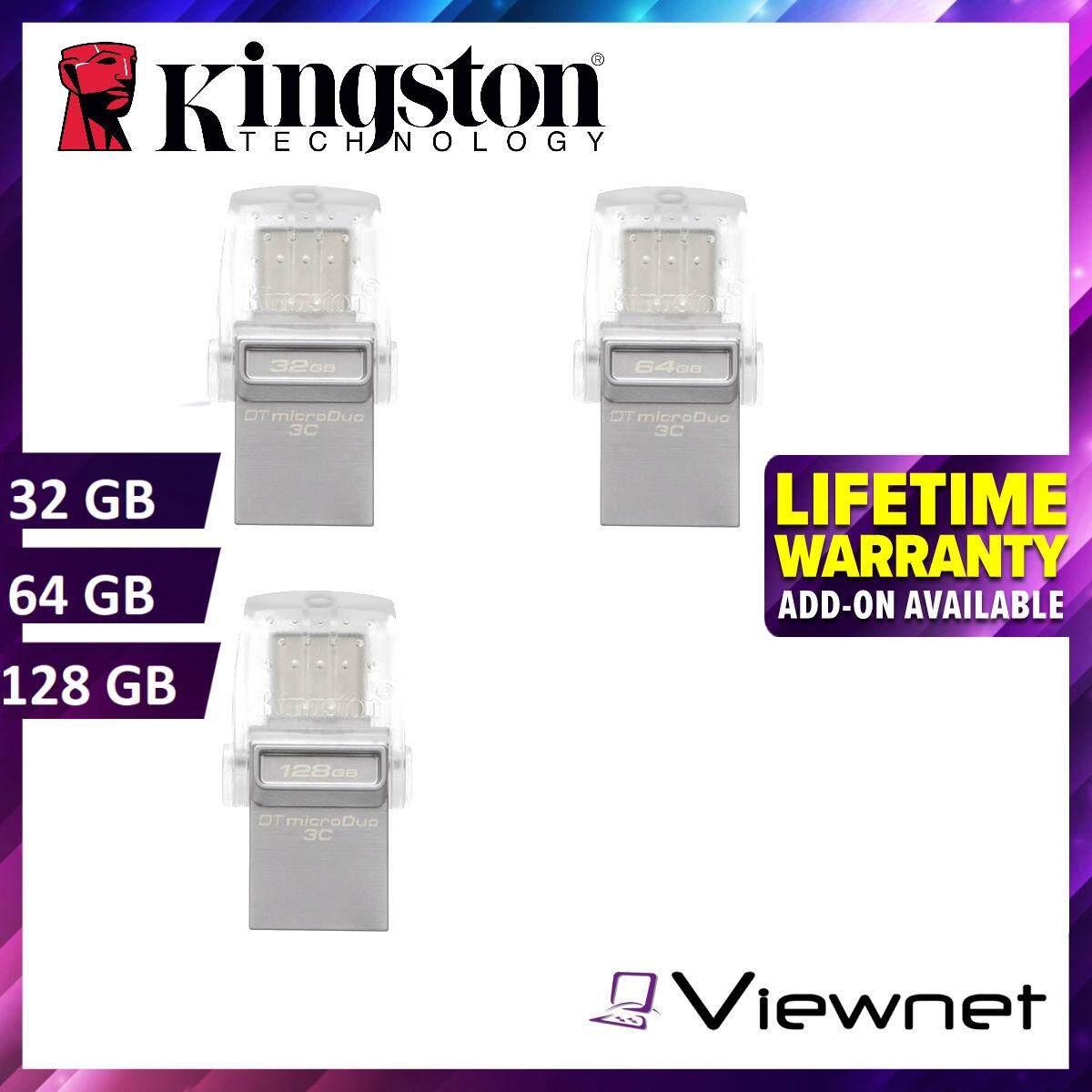 Kingston DataTraveler microDuo 32GB/64GB/128GB USB 3C Flash Drive (DTDUO3C/32GB/64GB/128GB) Pendrive
