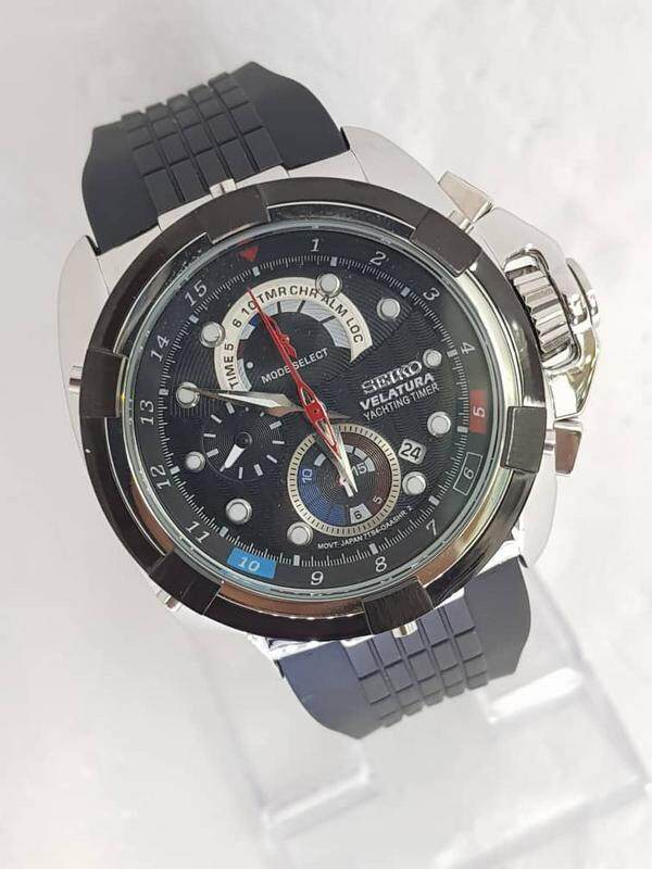 NEW_SEIK0_Velaturaa_Yachtingg Timer Orignal Leather Chronograph Stainless Steel Case 44mm 100% JAPAN MIYOTA MOVEMENT Business Fashion Watch For Men