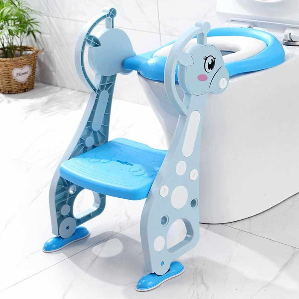 Potty Training Seat with Ladder Step Cartoon Deer Shape Non-slip Ladder Adjustable Height Double Handles Soft Potty Seat Pad Toddlers Toilet Seat Step for Boys Girls (Blue)