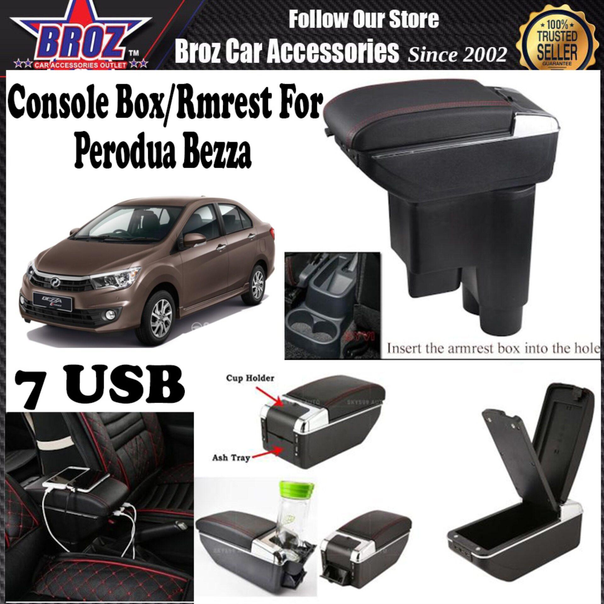Bezza PVC ABS Adjustable Armrest Console Box 7 USB