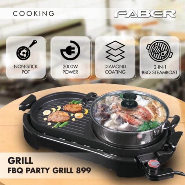 Faber FBQ PARTY GRILL 899 2-in-1 BBQ/grill and steamboat
