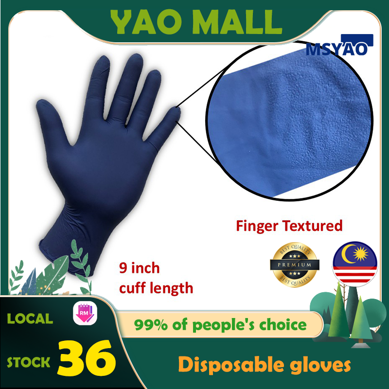 """【Ready Stock】Disposable gloves-low leather Powder Free Nitrile Gloves Black Disposable Cleaning Protective Food Safety Health Household Antibacterial (9""""3.2g100 Pcs)"""