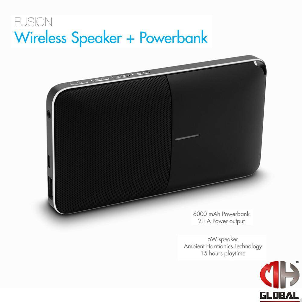 TECHGEAR Bluetooth 4.0 Speaker with 6000mAh Powerbank and Built-in Mic Fusion FREE Trident USB