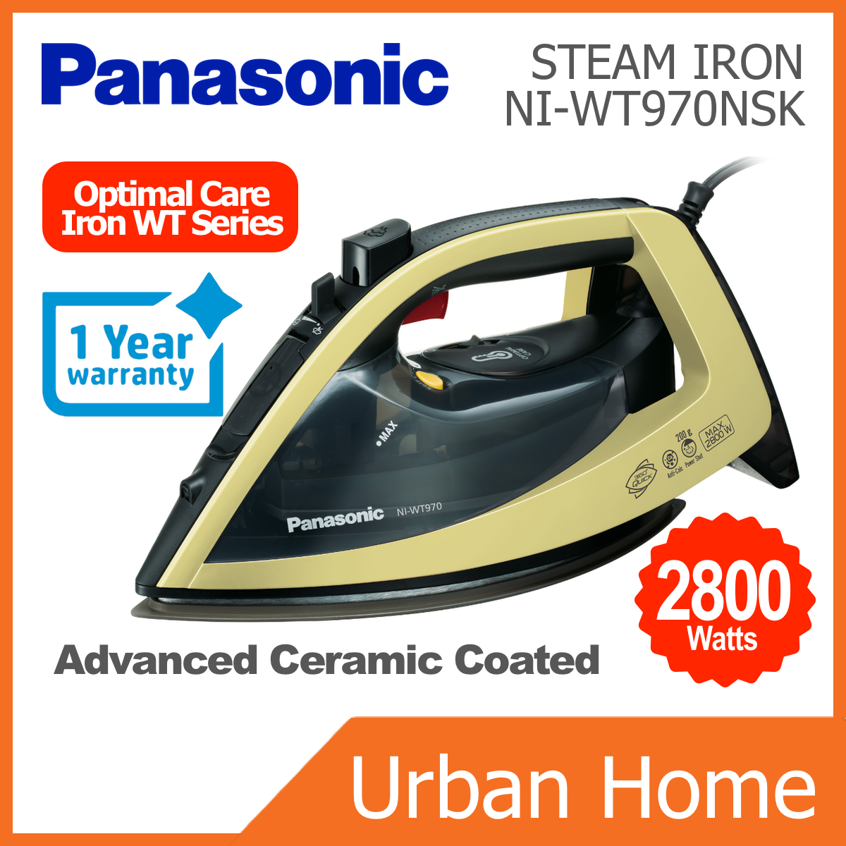 PANASONIC WT-Series Optimal Stream Iron (NI-WT970NSK/NI-WT970/NIWT970NSK/NIWT970)