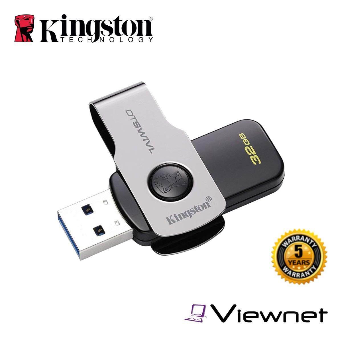 Kingston 16GB/32GB/64GB/128GB DataTraveler Swivl USB 3.1 Gen 1 (USB 3.0) Flash Drive (DTSWIVL) USB 2.0 Compatible Windows & Mac Compatible Five-Year Warranty Portable Capless Swivel Design Pendrive