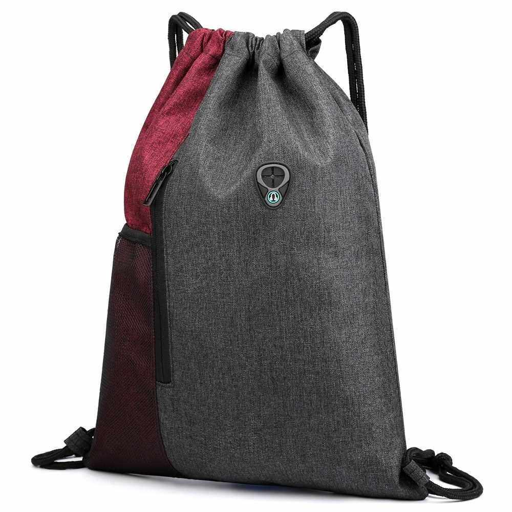 Gym Sack with Earphones Jack Drawstring Backpack Water-resistant Drawstring Bucket Bag Light Sack for Adults and Teenagers Kids (Red)