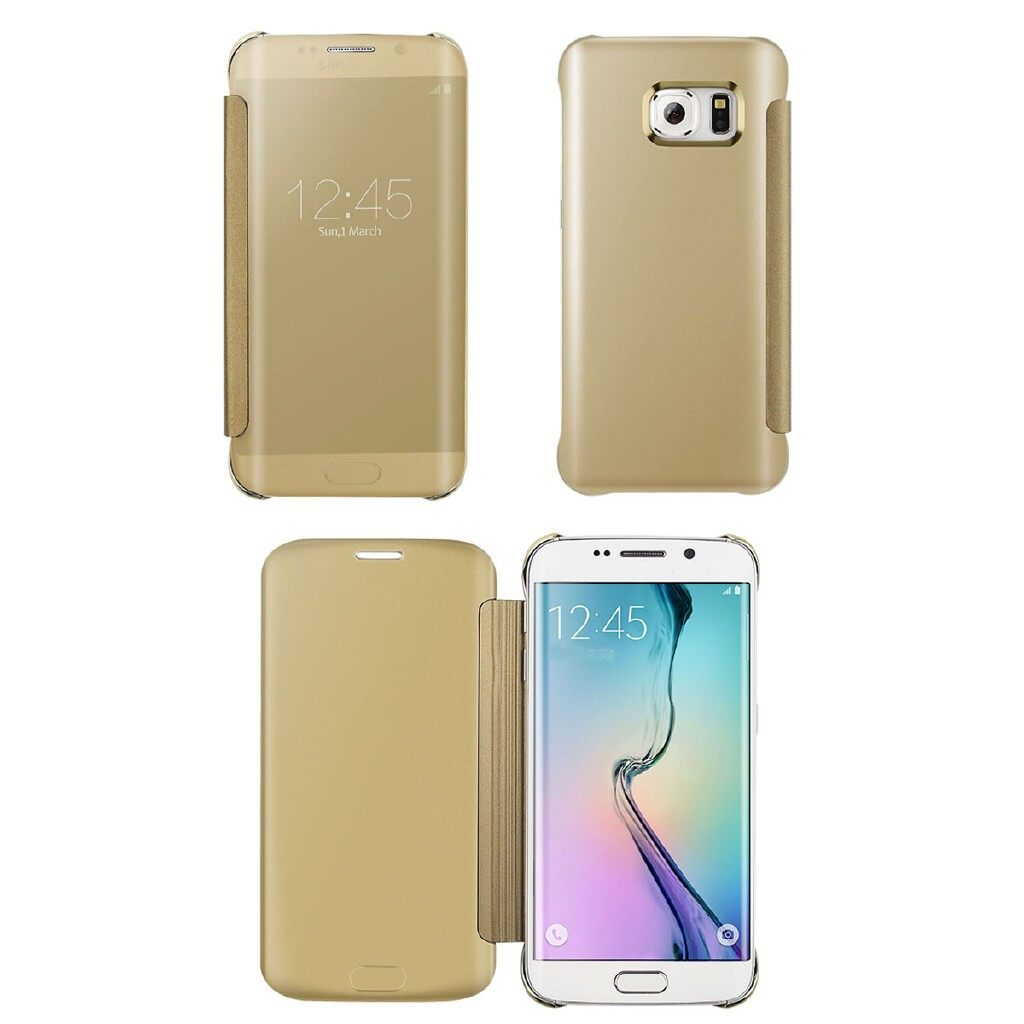 iPh Soft Cover - Luxury Mirror Flip Hard Clear Leather Slim Case Cover Back For Samsung Galaxy S6 - BLACK / BLUE / GOLD / THIN GREEN PINE / LIGHT SILVER MIRROR
