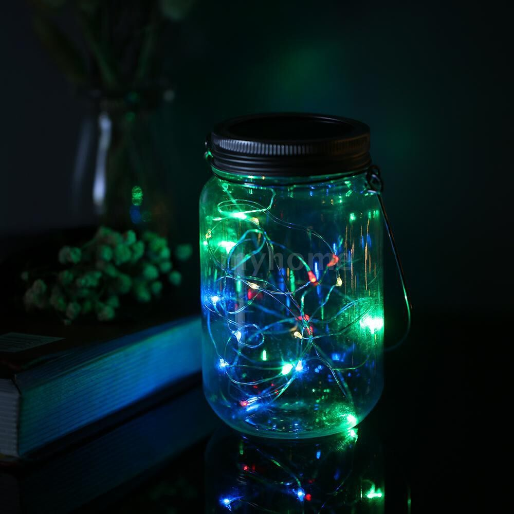Lighting - Mason Jar Solar Lantern Lights Waterproof 20LEDs Lid Lamp Starry Fairy Light Creative Copper Wire - 2M &MULTI-COLOR / 2M &WARM WHITE / 2M &WHITE / 1M &MULTI-COLOR / 1M &WARM WHITE / 1M &WHITE