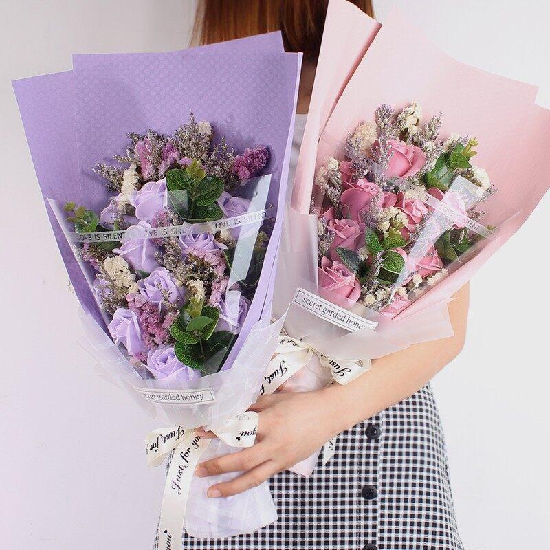 11 pcs Baby Breath Soap Rose Bouquet Flower Bunga   Valentine   Anniversary   Graduation   Gift Box 香皂花束