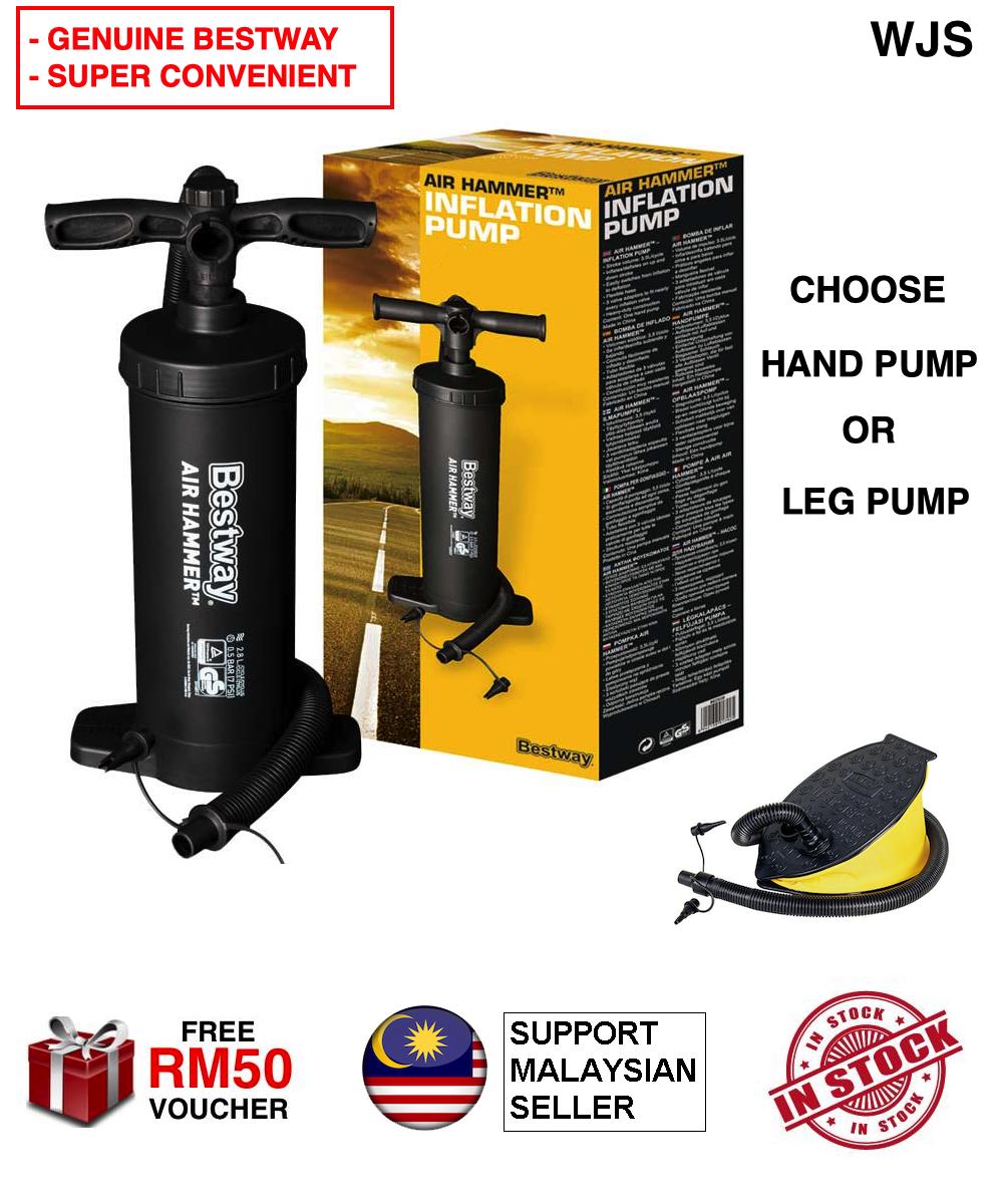 (GENUINE WITH BOX) WJS Bestway Air Pump Air Hammer Pump Air Step 12inch/30cm Inflation Pump Manual Air Pump Hand Pump Leg Pump BLACK [FREE RM 50 VOUCHER]