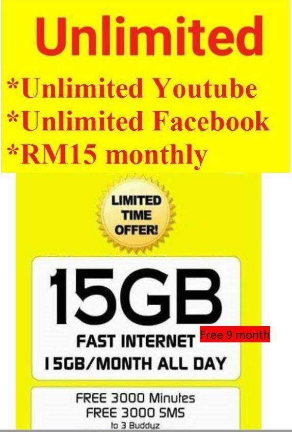 digi 15GB (9mth)+unlimited F bok & U video (mthly fees RM15)
