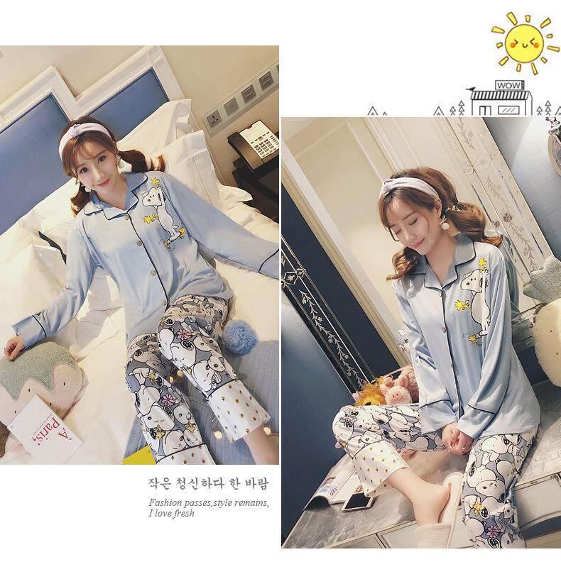 Bolster Store Plus Size Ladies Women Loose Satin Flora Blouse Long Pants Set Comfortable Night Wear Pajamas