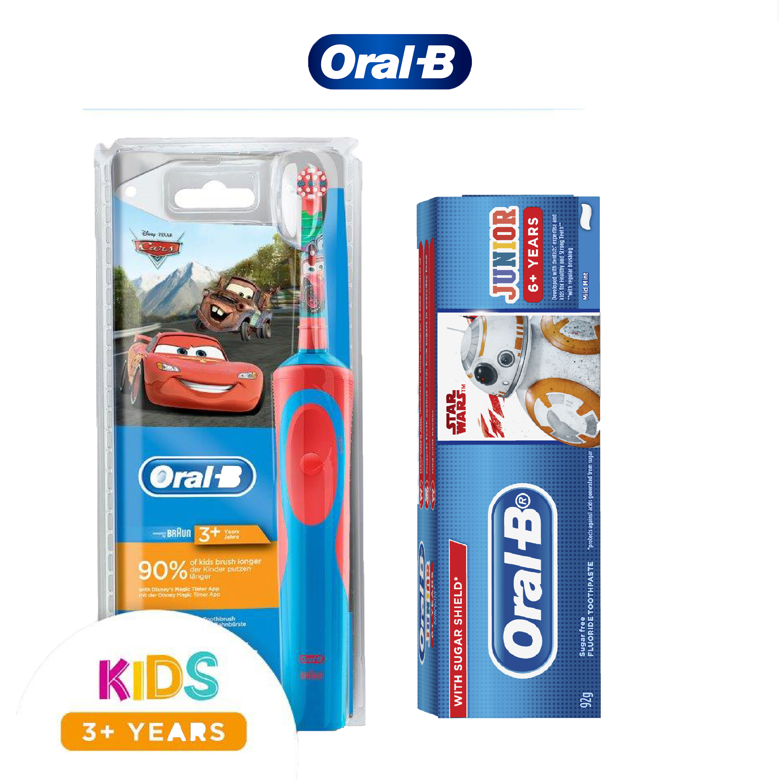Oral-B Kids Car Rechargeable Toothbrush & Starwars Junior Toothpaste 92g
