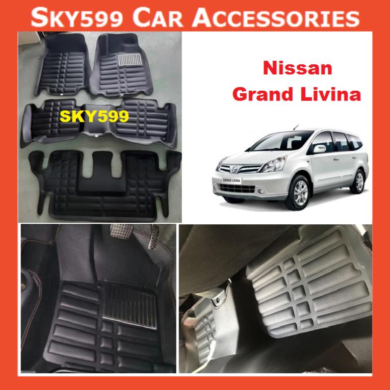 Nissan Grand Livina 2006-2020 5D Car Floor Mat/Carpet - 3row
