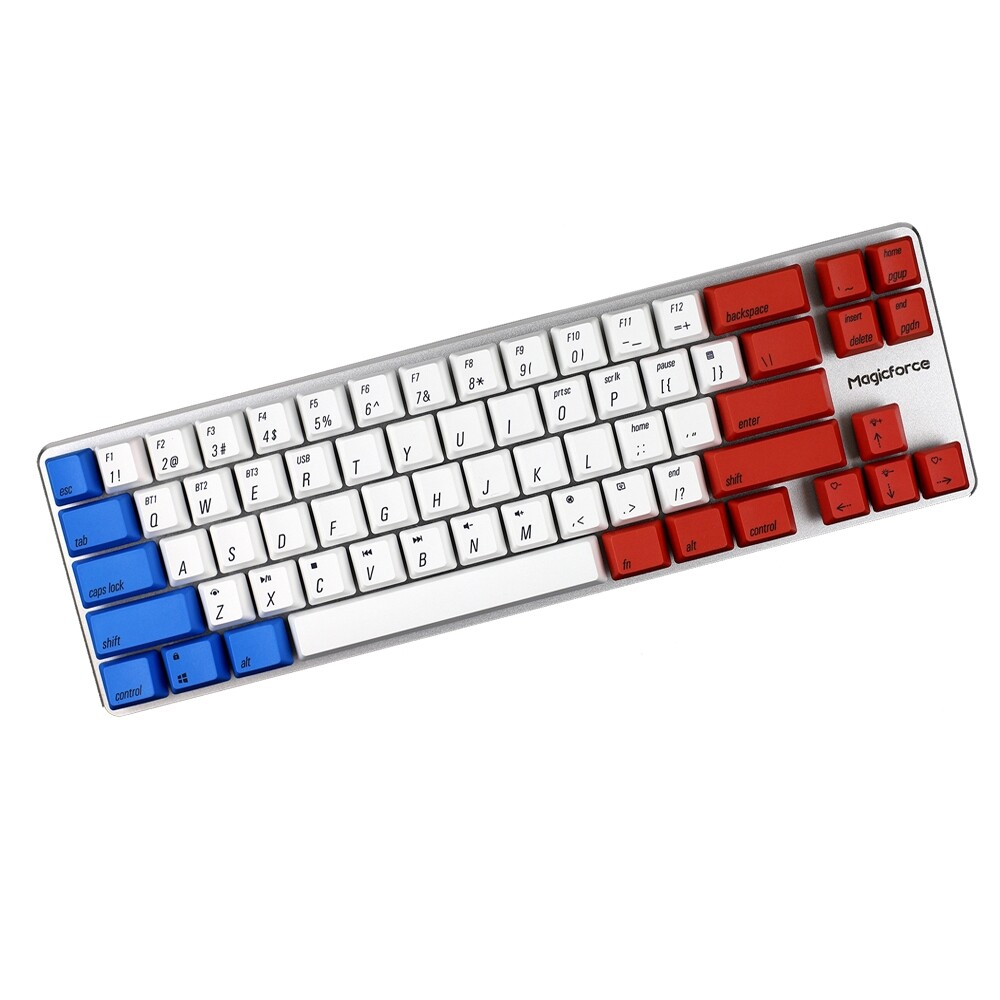 Keyboards - Magicforce Smart2 68 Keys BLUETOOTH 4.0 Wired Dual Mode PBT Keycap Mechanical Keyboard - RGBY-RED SWITCH / WHITE PURPLE-BROWN / RGBY-CYAN SWITCH / CAPTAIN AMERICA-RED / CAPTAIN / INK GREY-RED SWITCH / PALE GREY-RED SWITCH / WHITE PURPLE-R