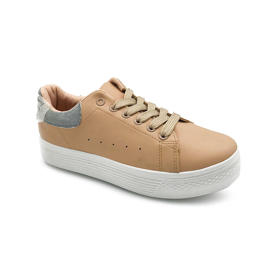 XES Ladies BSLCEV33 Comfort Sneakers (White Khaki)