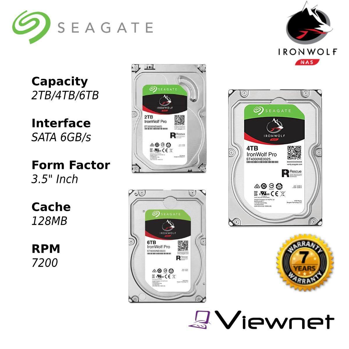 Seagate Ironwolf Pro 2TB/4TB/6TB Internal Hard Drive - 7200RPM SATA 6Gb/s 128MB 3.5