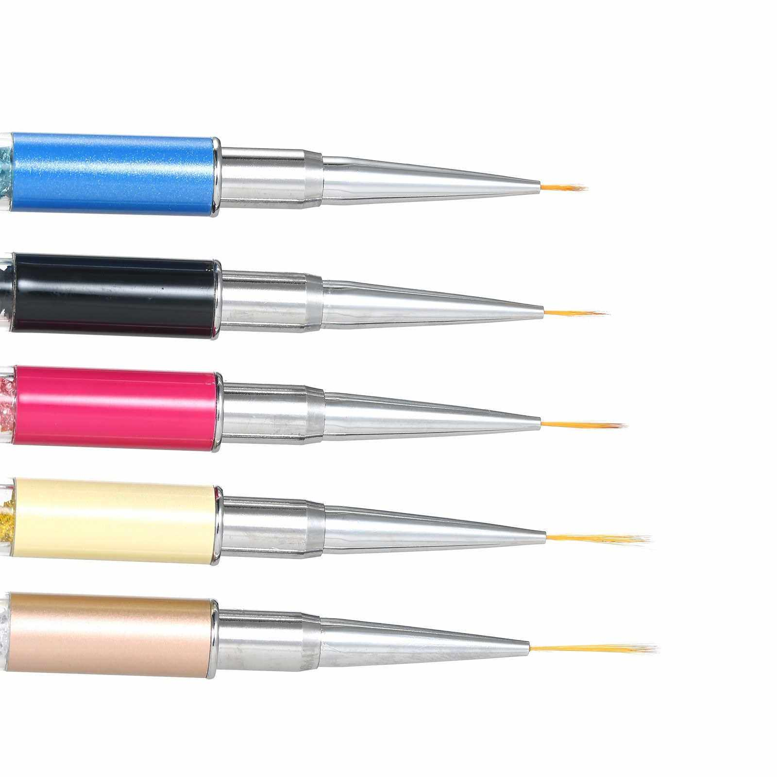 People's Choice 5pcs/set Nail Art Liner Painting Pen Brush DIY Drawing Flower Lines Set DIY UV Gel Tips Design Brushes Shiny Metal Handle Manicure Tools (Standard)