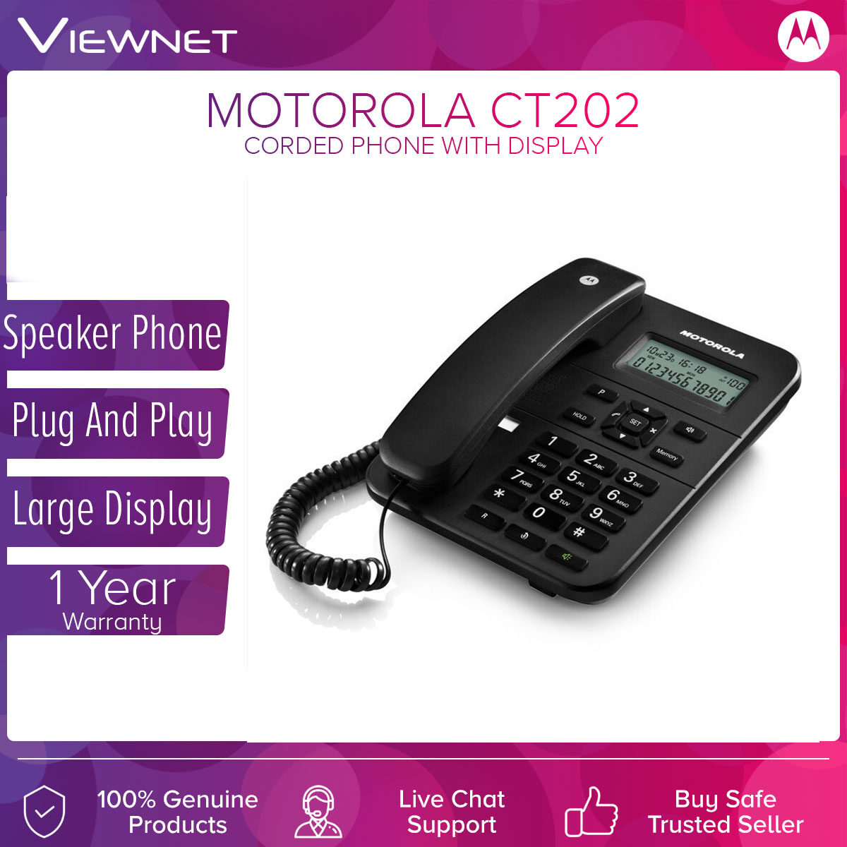 Motorola Corderd Phone CT202 Speaker Phone & Black and White LCD Display with Caller ID, Last Number Redial Memory , Alarm Facility