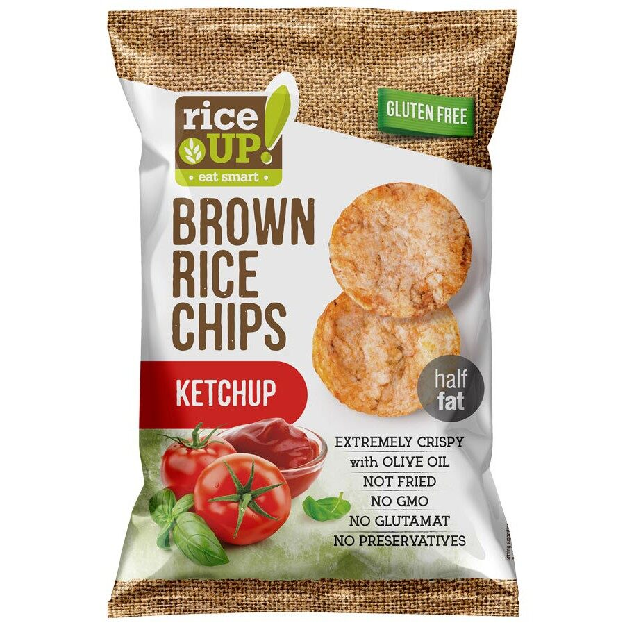 Rice Up Brown Rice Chips With Ketchup 65G x2 - TWIN PACK