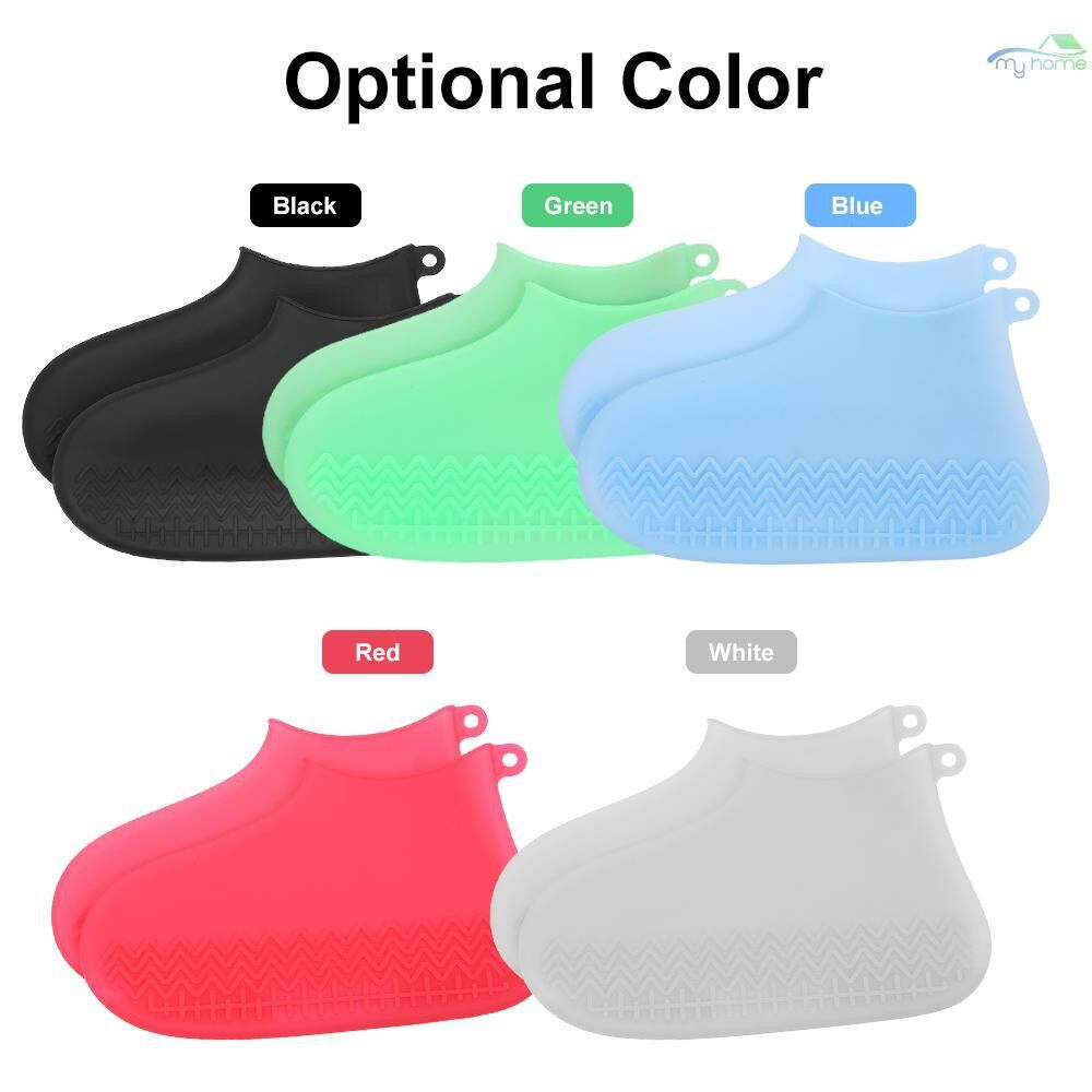 Security & Surveillance - 1 Pair Reusable Waterproof Rain Shoes Covers Silicone Non-slip Rain Snow Boot Overshoes Foldable - GREEN-L / GREEN-M / GREEN-S / RED-L / RED-M / BLUE-L / BLUE-M / BLUE-S / BLACK-L / BLACK-M / BLACK-S / WHITE-L / WHITE-M / WH