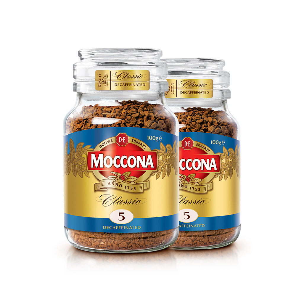 Moccona Classic Decaffeinated Freeze Dried 5 Coffee 100g x 2 Jar