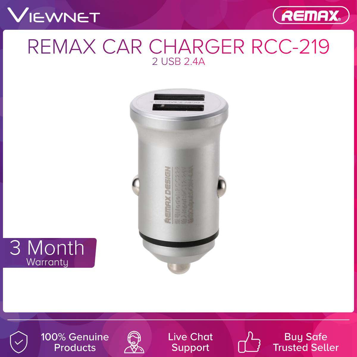 Remax Car Charger Alloy Series 2-Usb 2.4A (RCC-222)