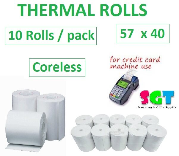Thermal Paper Roll 57 x 40 (No Core) 10`s/Pack
