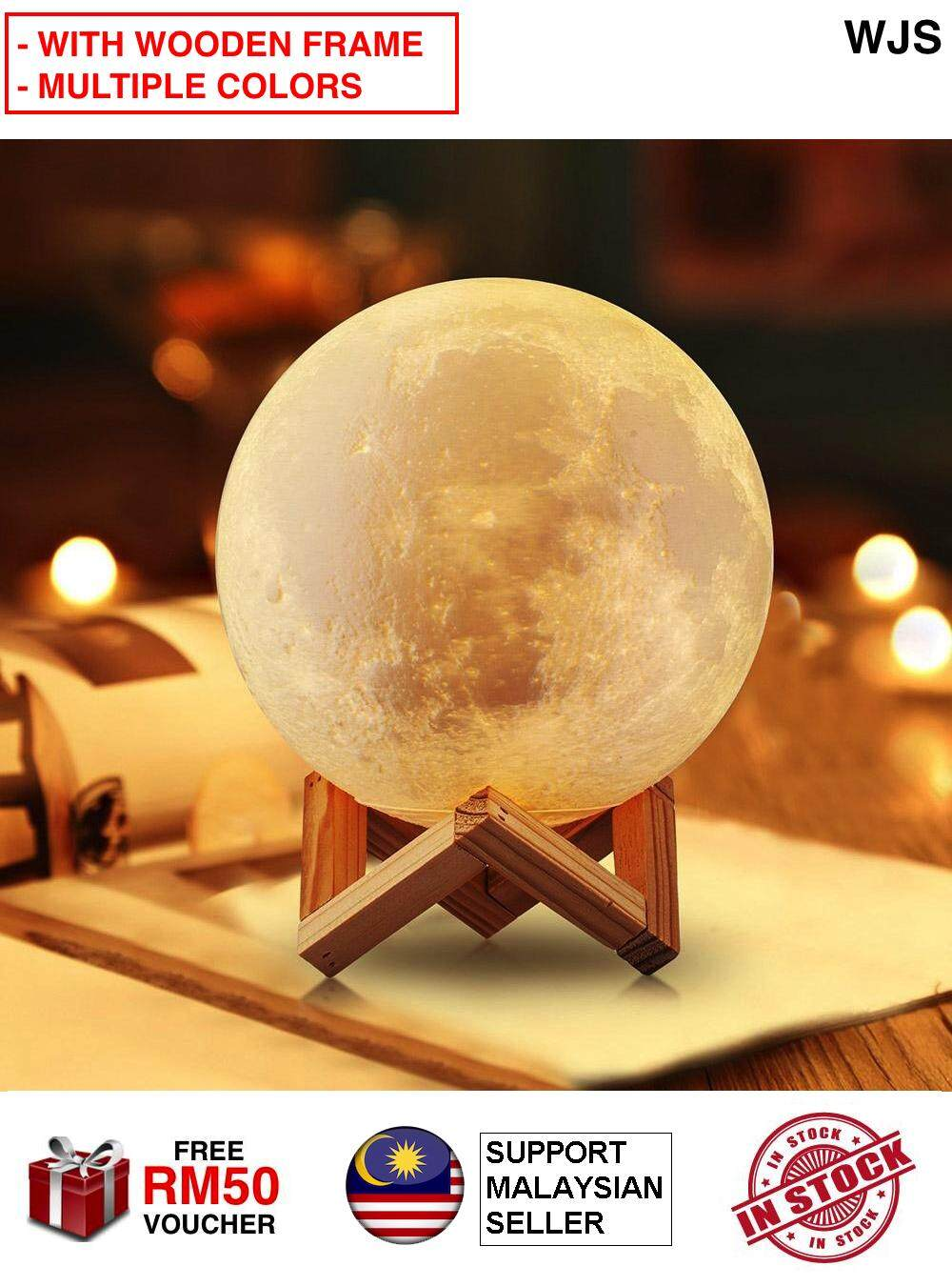 (WITH WOODEN STAND) WJS 15cm Full Moon LED Night Light LED 3D Printing Moon Lamp Wooden Frame Touch Sense Touch Control Brightness Bright LED Warm White Cool White Color [FREE RM 50 VOUCHER]