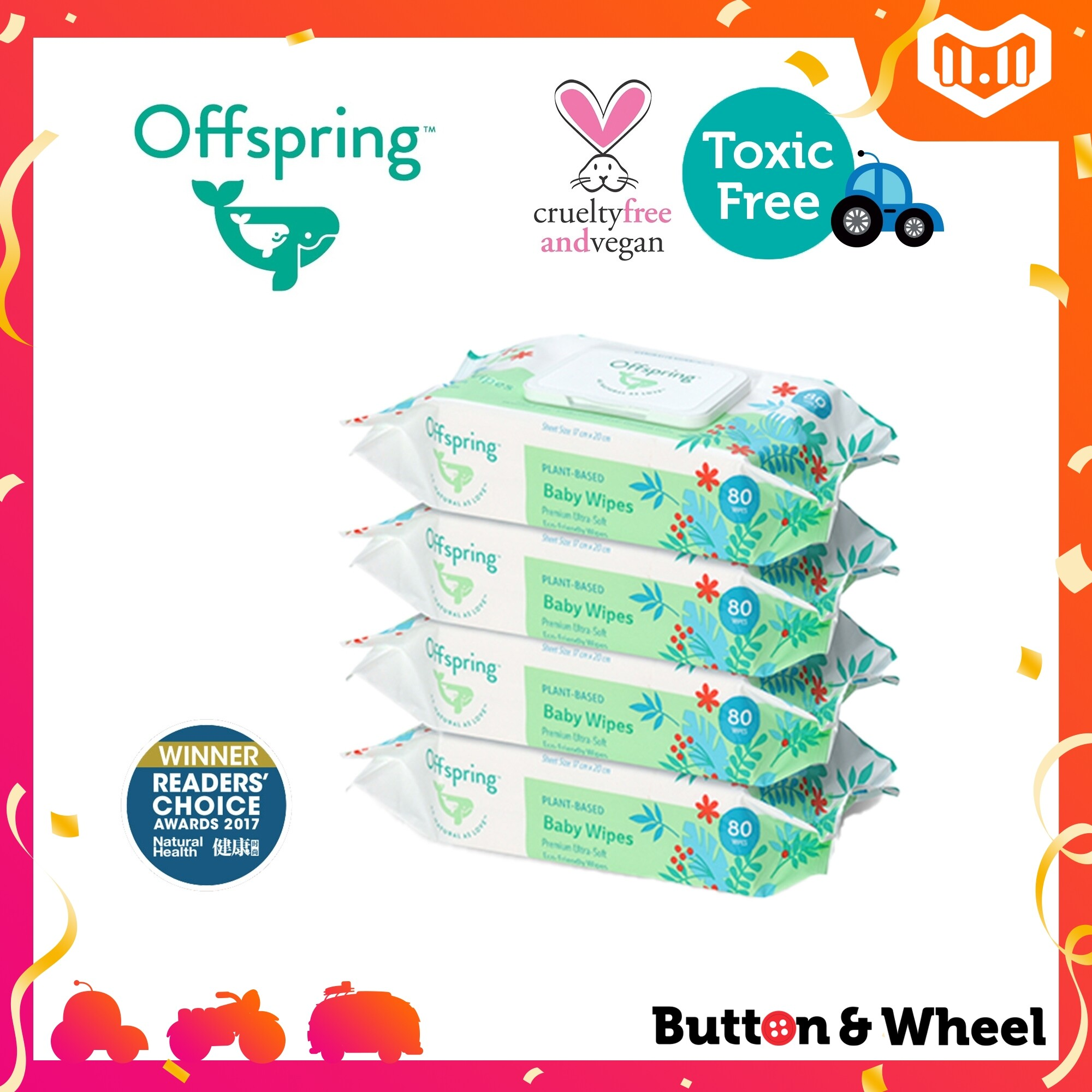 Offspring Natural Baby Wipes 80ct 4-Pack Bundle (Expiry Date: 10/12/2021):OI-BW-80CT-4P