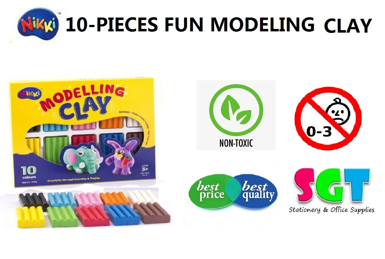 NIKKI 10-Pieces Fun Modelling Clay (MD100)