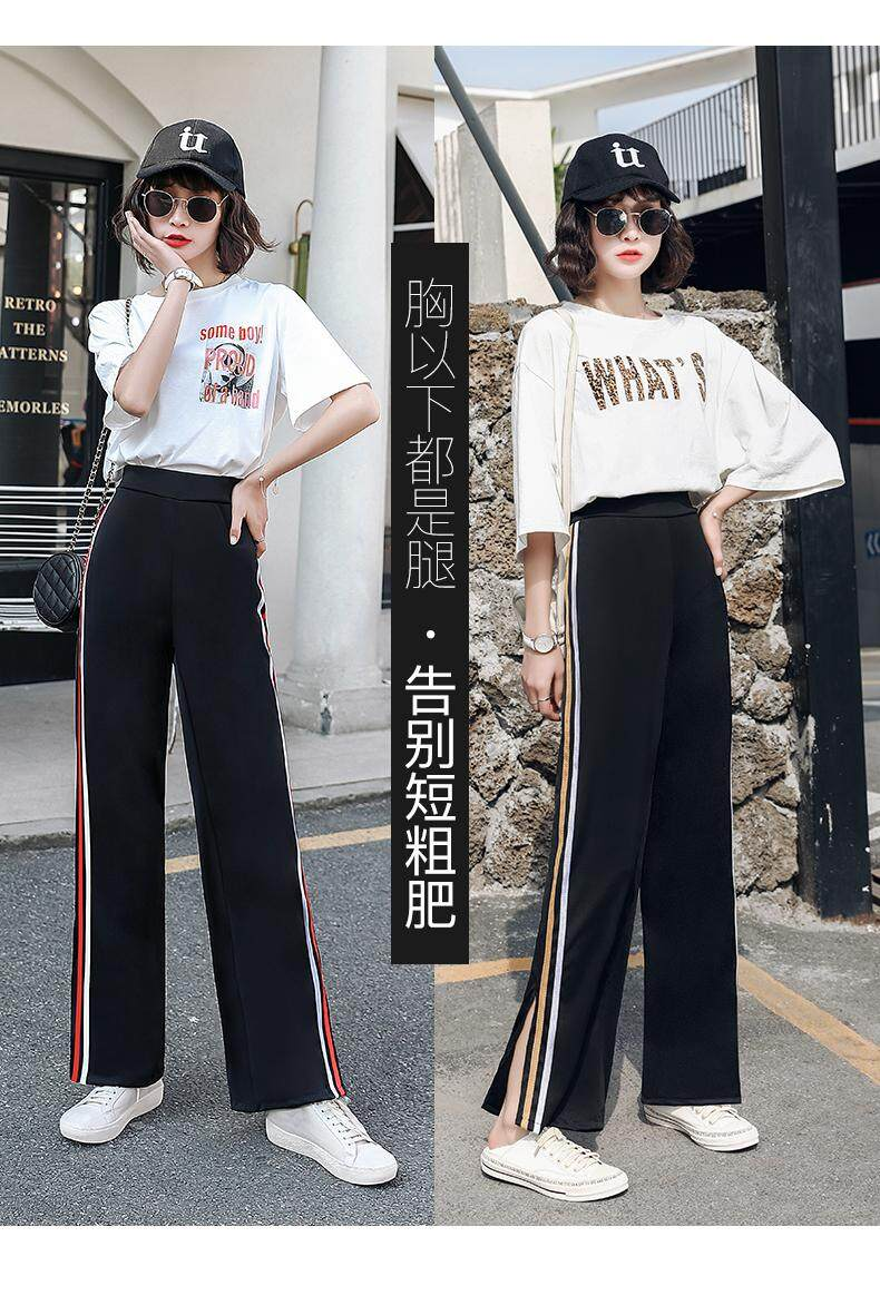 (PRE ORDER) WOMEN SLIM SPLIT TROUSERS HIGH WAIST PANTS