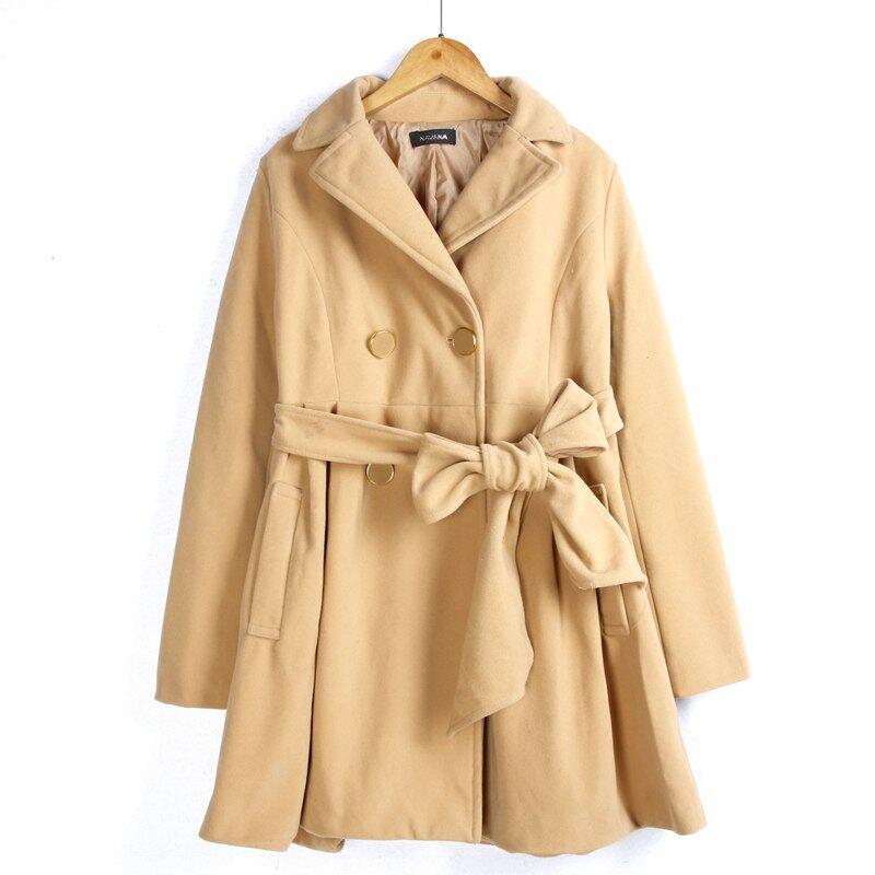 Winter Long Women Coat Jacket Waist Tie Trench Coat