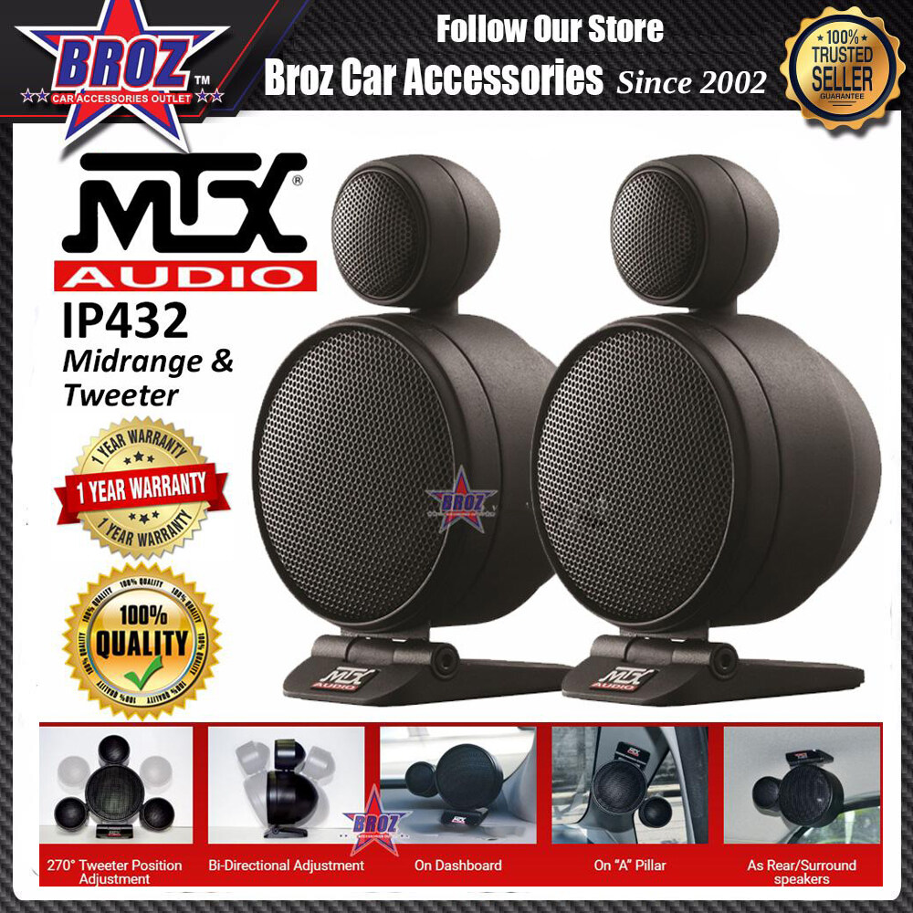 Broz MTX Audio IMAGE Pro IP432 2 Way Midrange Speaker & Tweeter w/ Sound Enhancement