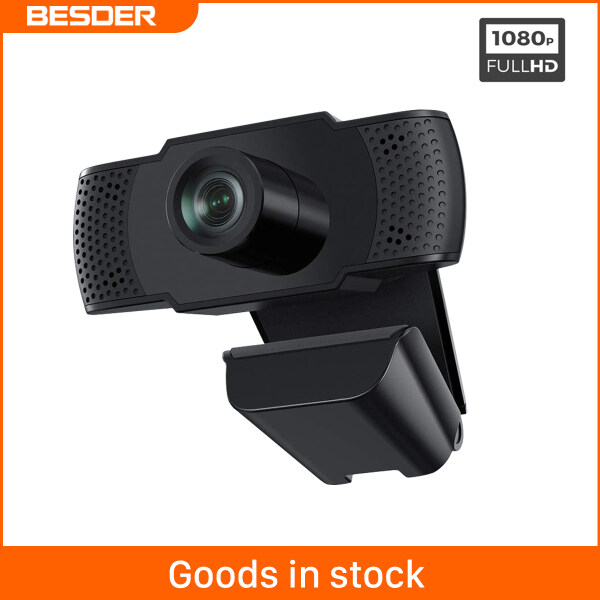 BESDER Webcam 1080P E-learning Webcams 30fps HD Fluent Video Built-in Microphone Two Way Audio Laptops Desttops USB 2.0 3.0 Plug and Play Multi-platform YouTube Skype Facebook FaceTime
