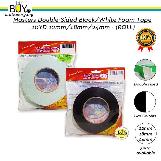 Masters Double-sided White / Black Foam Tape 10YD 12mm/18mm/24mm - (ROLL)