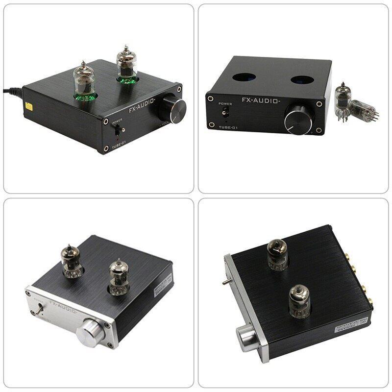 TUBE-01 Digital Amplifier Wonder Pre-Amplifier 6J1 Stereo HiFi Buffer Preamp - BLACK WITH ADAPTER / SILVER WITH ADAPTER / BLACK NO ADAPTER / SILVER NO ADAPTER