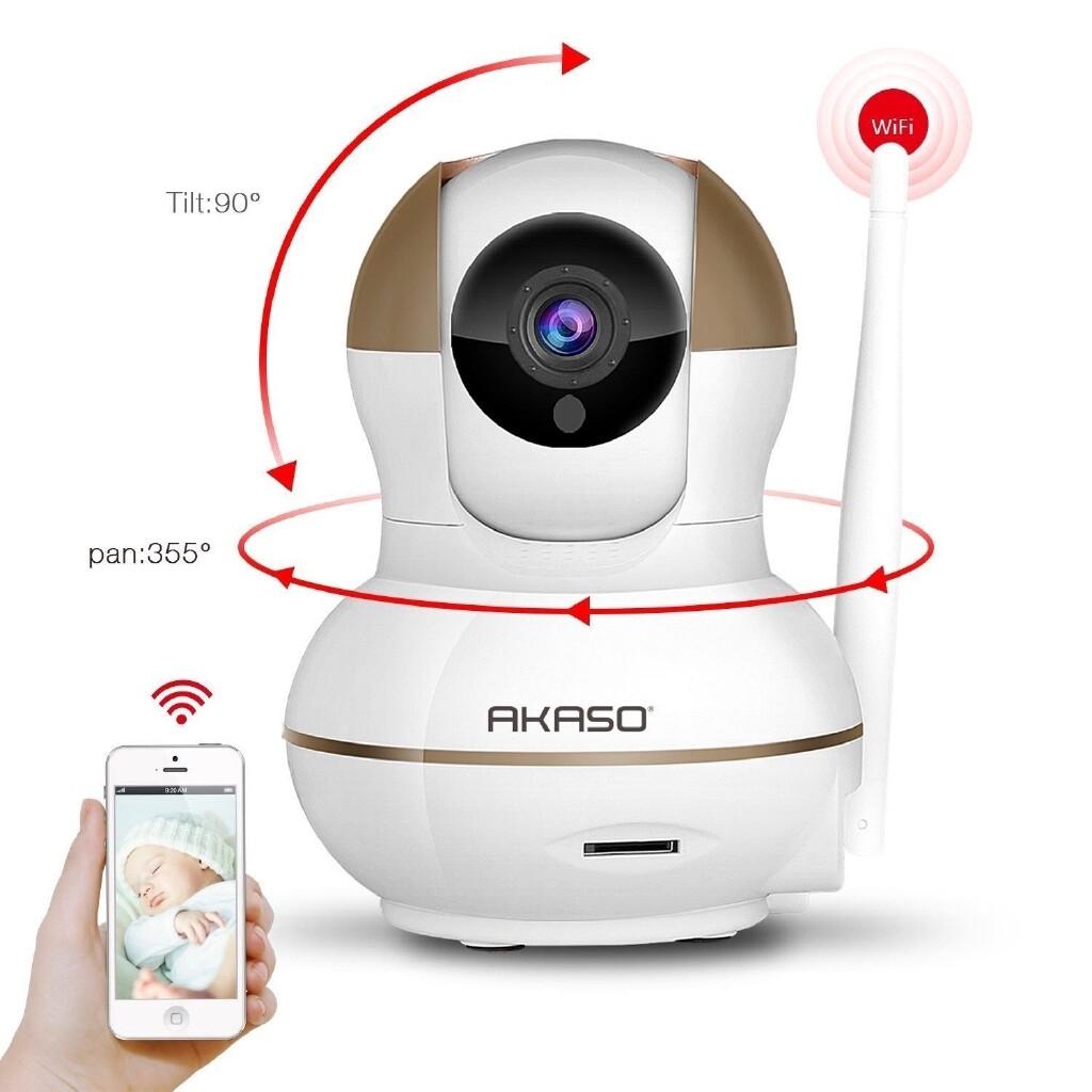Refurbished AKASO WIRELESS IP Security Camera Baby Monitor Night Vision Webcam - WHITE