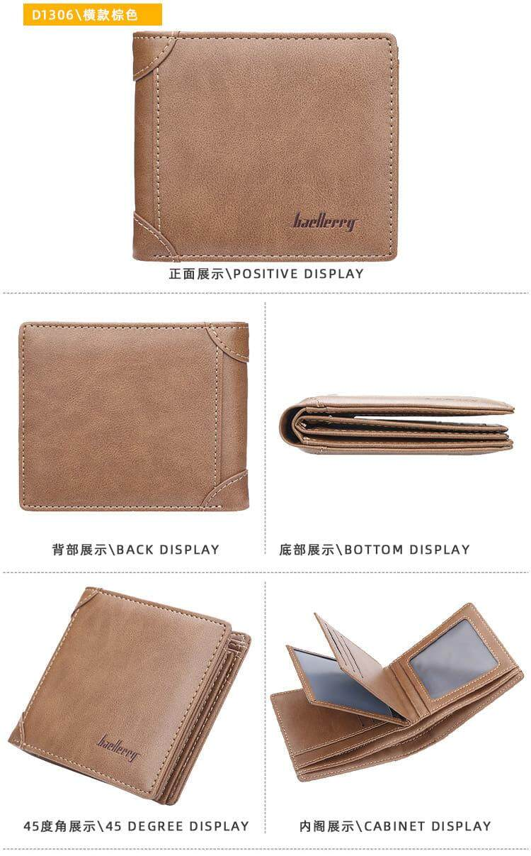 [M'sia Warehouse Direct] 2020 Korean Series Men's Leather Fashion Wallet Bi-Fold Fengshui Wallet Europe Designer Perfect Gift (Come With Box) Clutch Card Coins Cash Slot With Zip Portable Hand Carry Bag Luxury Top Material Genuine Halal Dompet Kulit