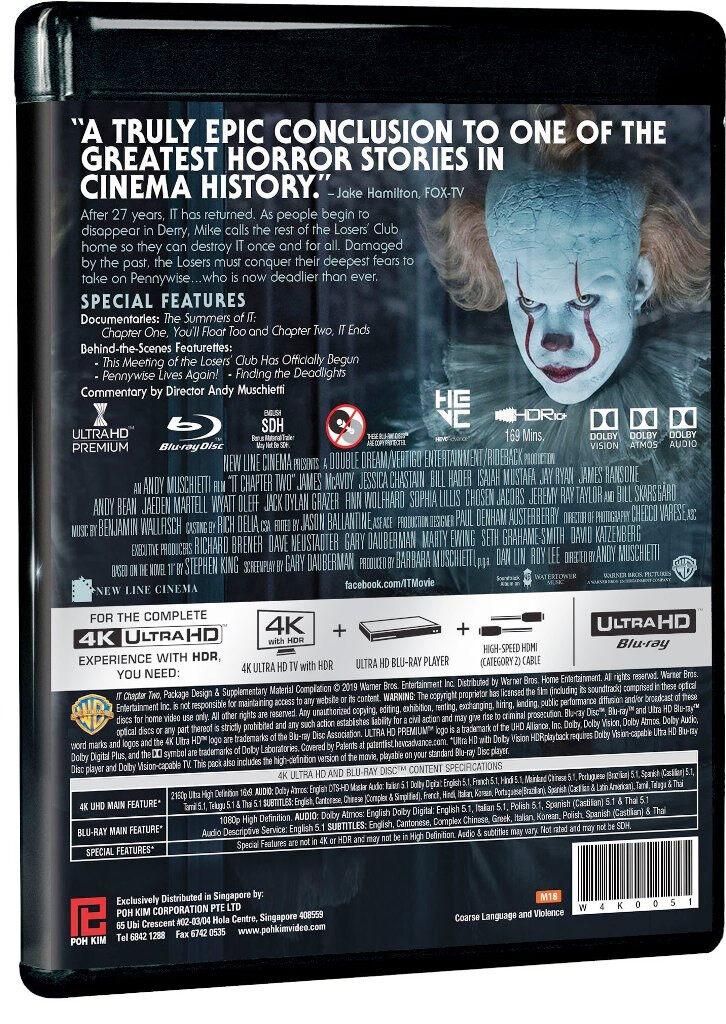 English Movie IT Chapter 2 (4K Ultra HD + Blu-ray + Bonus Disc)