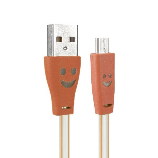 Mobile Cable & Chargers - 1.0M USB 2.0 to Micro USB Smile LED Charging Data Line - ORANGE / ROSE RED / RED / YELLOW