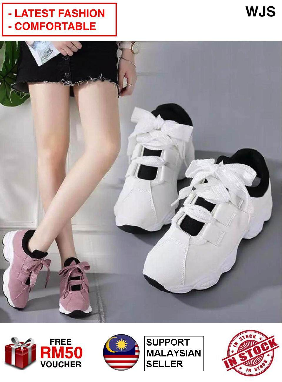 (COMFORTABLE + FASHIONABLE) WJS 2020 Sherry Sneakers Sherry Shoe Korean Version of The Wild Student Sport Shoe Sports Shoe Casual Shoe Women's Shoe BEIGE GREY PINK BLACK [FREE RM 50 VOUCHER]