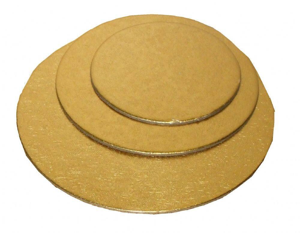 """Round Cake Board (Gold 13"""") - Set of 3pcs / PAPAN KEK BULAT"""