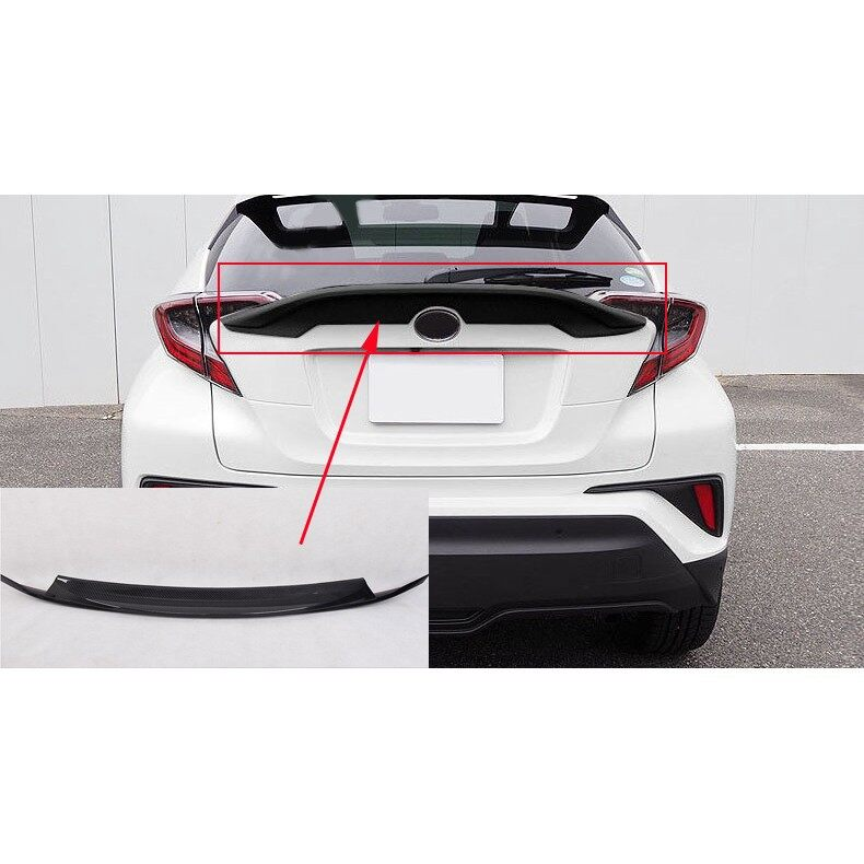 Automotive Tools & Equipment - CARBON FIBER LOOK REAR TRUNK WING SPOILER GATE BODYKIT TRIM FOR TOYOTA CHR - Car Replacement Parts